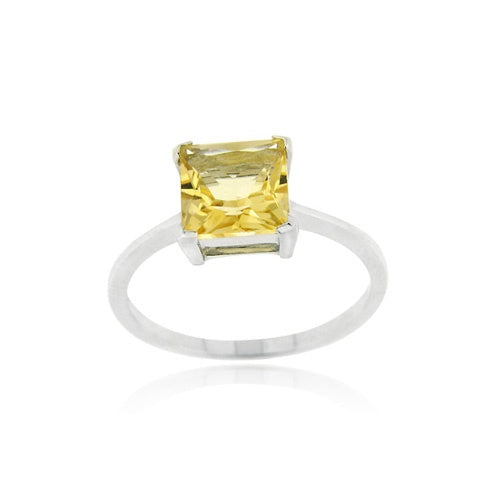 Sterling Silver Citrine Solitaire Square Ring