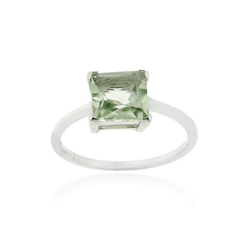 Sterling Silver Green Amethyst Solitaire Square Ring