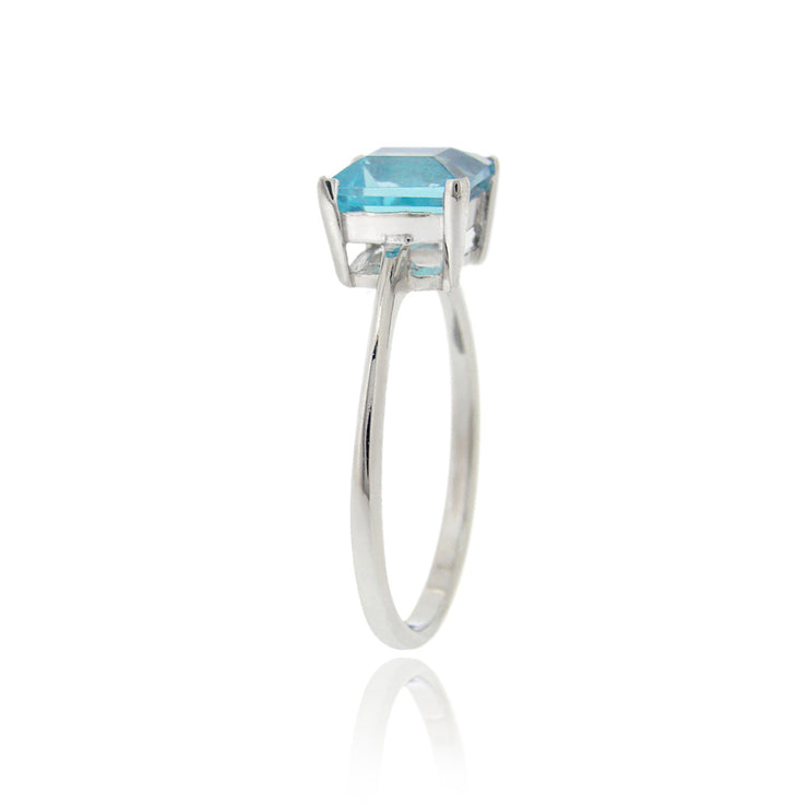 Sterling Silver Swiss Blue Topaz Solitaire Square Ring