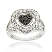 Sterling Silver 1/ct Black Diamond Heart Ring
