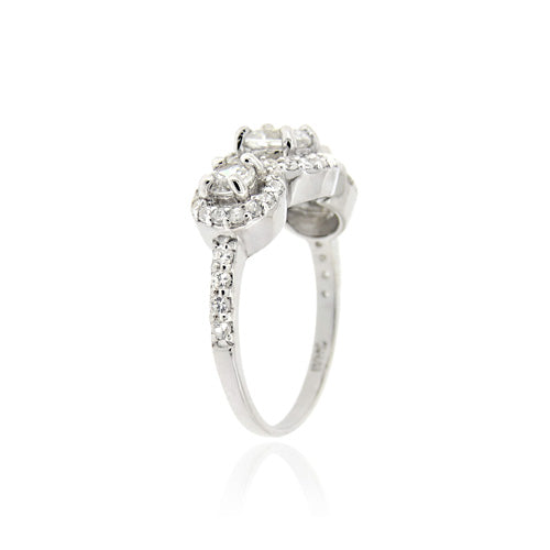 Sterling Silver CZ 3-Stone Bridal Engagement Ring
