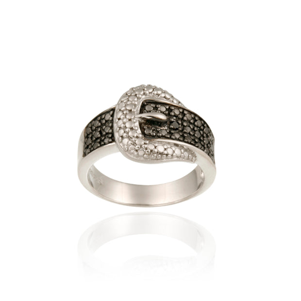 Sterling Silver 1/4CT Black Diamond Buckle Rings