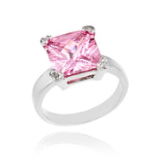 Sterling Silver ct Pink CZ Square Solitaire Ring