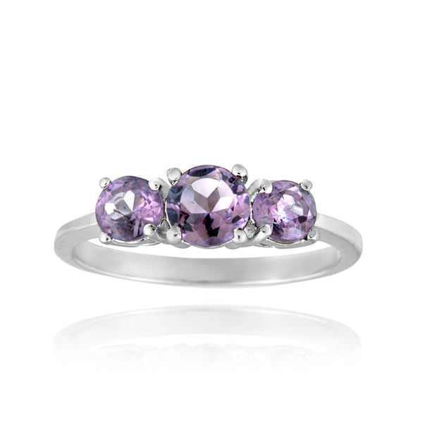 Sterling Silver .ct Amethyst Three Stone Ring