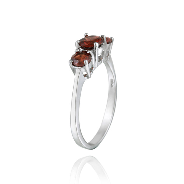 Sterling Silver 1.3ct Garnet Three Stone Ring