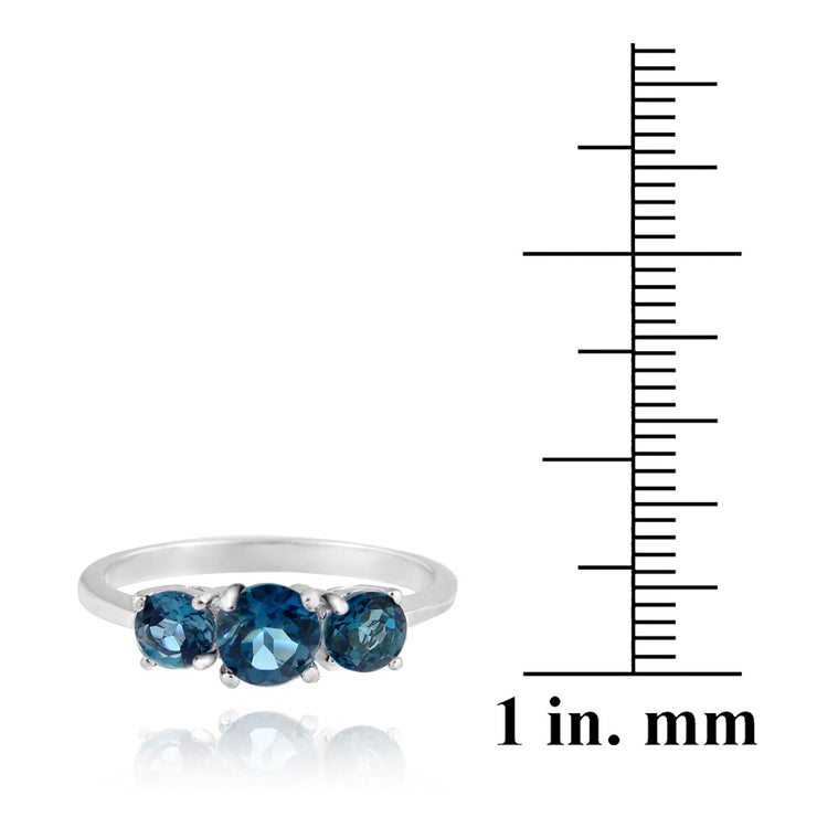 Sterling Silver 1.2ct London Blue Topaz Three Stone Ring