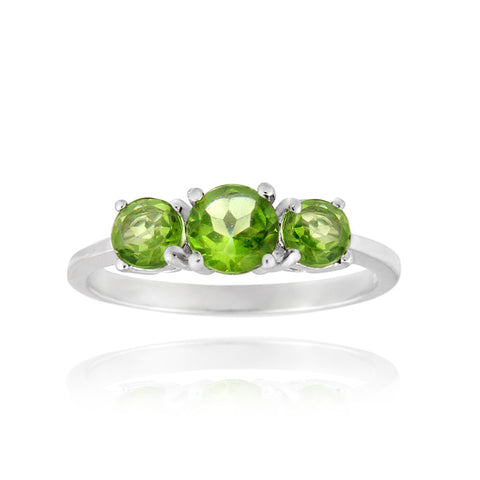 Sterling Silver 1.1ct Peridot Three Stone Ring
