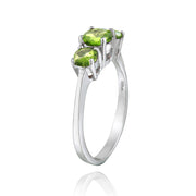 Sterling Silver 1.1 ct Peridot Three Stone Ring