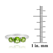 Sterling Silver 1.1 Carat Peridot Three Stone Ring