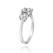 Sterling Silver 1.2ct White Topaz Three Stone Ring