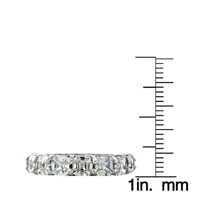 Sterling Silver Asscher-Cut CZ Eternity Wedding Band Ring