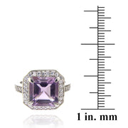 Sterling Silver 4.ct Amethyst & CZ Square Ring