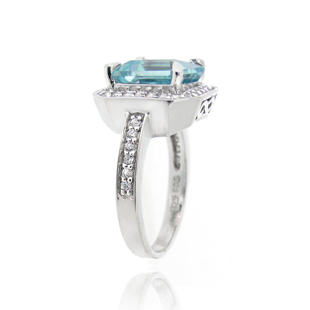Sterling Silver .2ct Blue Topaz & CZ Square Ring
