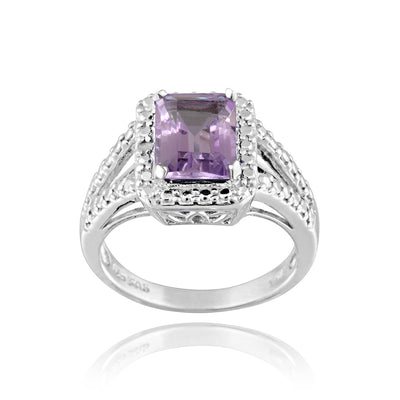 Sterling Silver 2.25ct Emerald-Cut Amethyst & Diamond Accent Ring