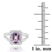 Sterling Silver 2.2ct Emerald-Cut Amethyst & Diamond Accent Ring