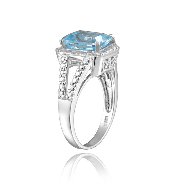 Sterling Silver 3.4ct Emerald-Cut Blue Topaz & Diamond Accent Ring