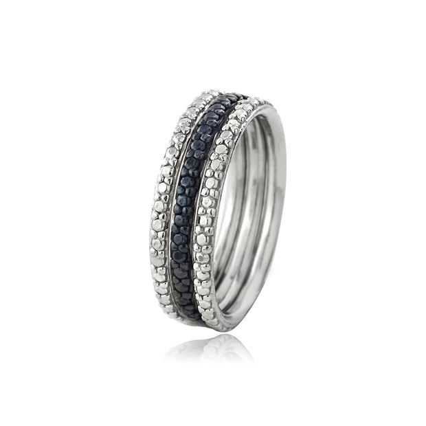 Sterling Silver Blue Diamond Accent Stackable Eternity Band Rings Set