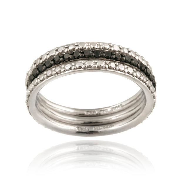 Sterling Silver Black Diamond Accent Stackable Eternity Band Rings Set