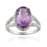 Sterling Silver 4ct Amethyst & Diamond Accent Oval Ring