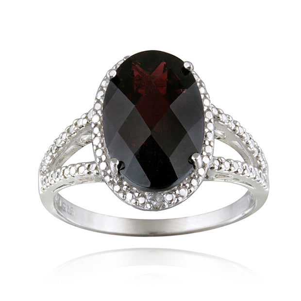 Sterling Silver .ct Garnet & Diamond Accent Oval Ring