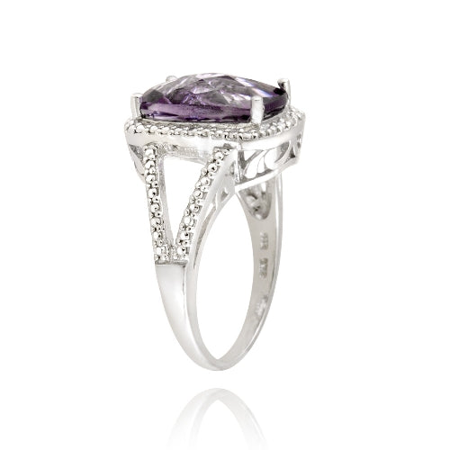 Sterling Silver .1ct Amethyst & Diamond Accent Cushion Cut Ring