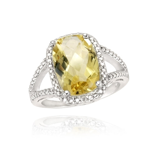 Sterling Silver .1ct Citrine & Diamond Accent Cushion Cut Ring