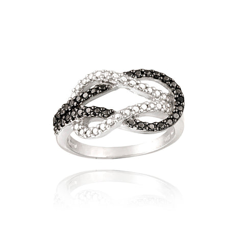 Sterling Silver Black Diamond Accent Love Knot Ring