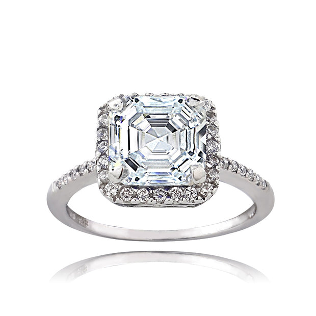 Sterling Silver 2 1/3ct CZ Asscher-Cut Ring