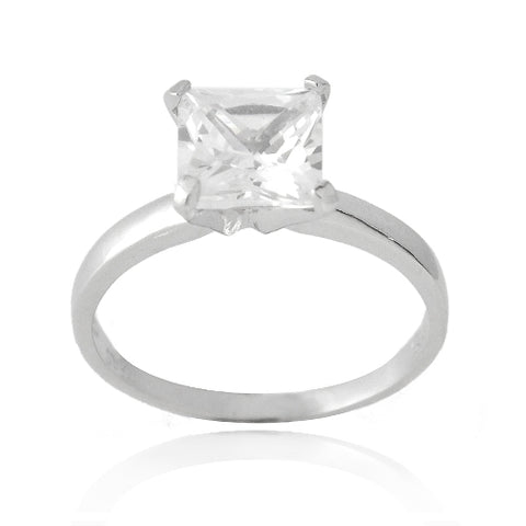 Sterling Silver 2ct Princess Cut CZ Bridal Engagement Ring