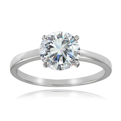 Sterling Silver 2ct Cubic Zirconia 8mm Round Solitaire Ring