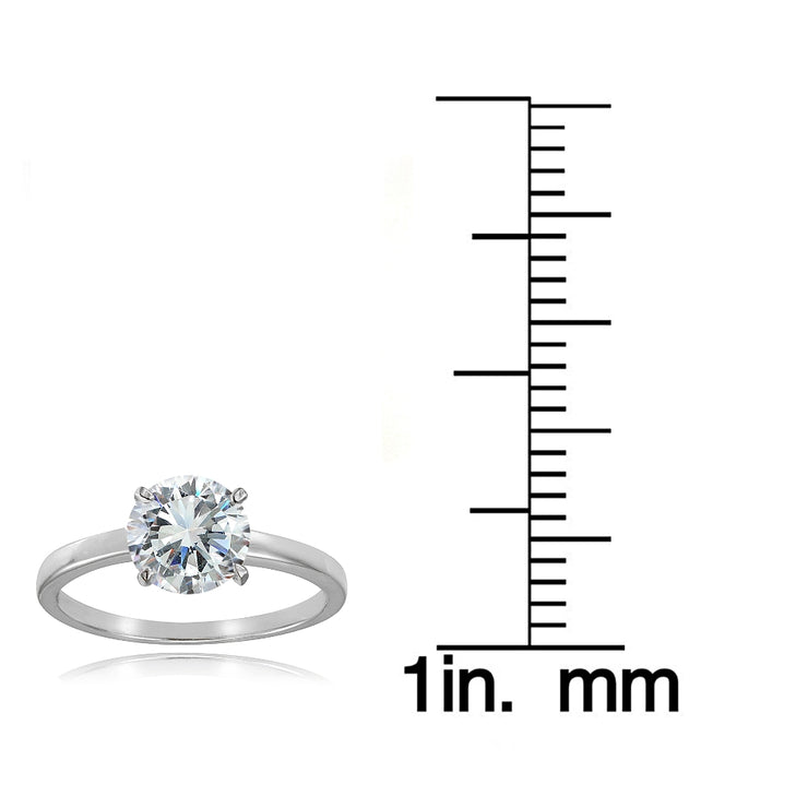 Sterling Silver 2ct Cubic Zirconia mm Round Solitaire Ring
