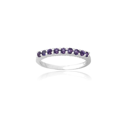 Sterling Silver Amethyst Semi-Eternity Band Ring