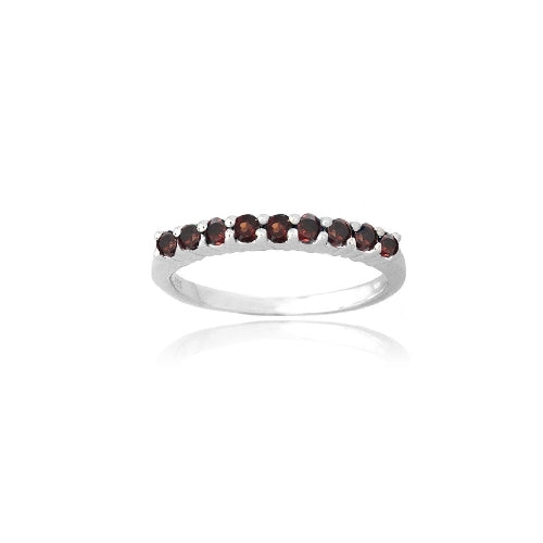 Sterling Silver Garnet Semi-Eternity Band Ring