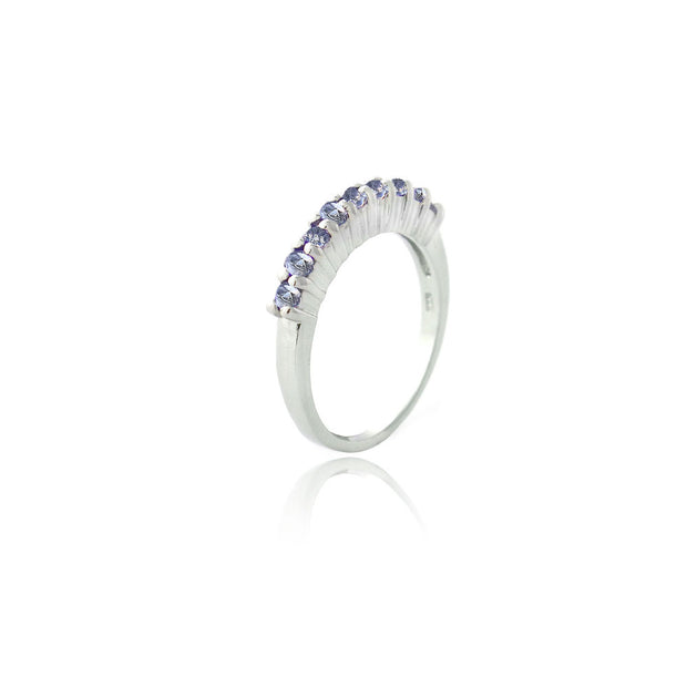 Sterling Silver Tanzanite CZ Semi-Eternity Band Ring
