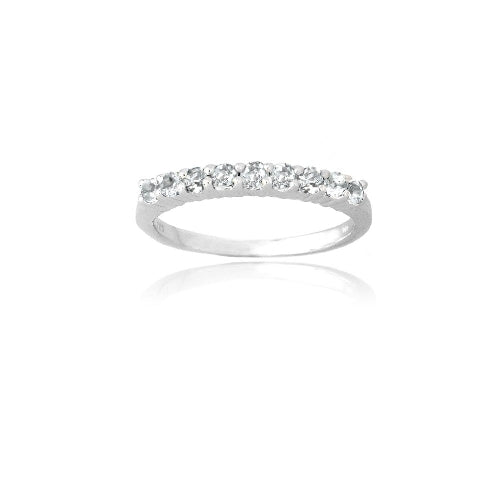 Sterling Silver White Topaz Semi-Eternity Band Ring