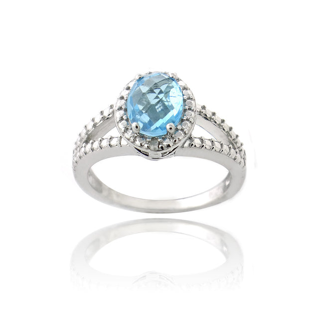 Sterling Silver 1.ct Swiss Blue Topaz & Diamond Accent Split Band Oval Ring