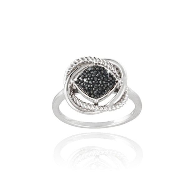 Sterling Silver 1/4ct Black Diamond Love Knot Ring