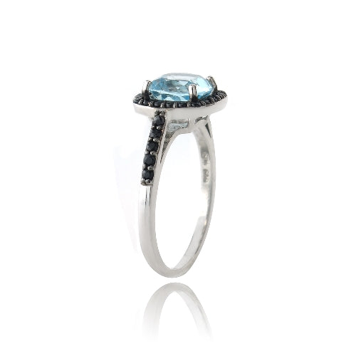 Sterling Silver 2.2ct Blue Topaz & Black Spinel Square Ring