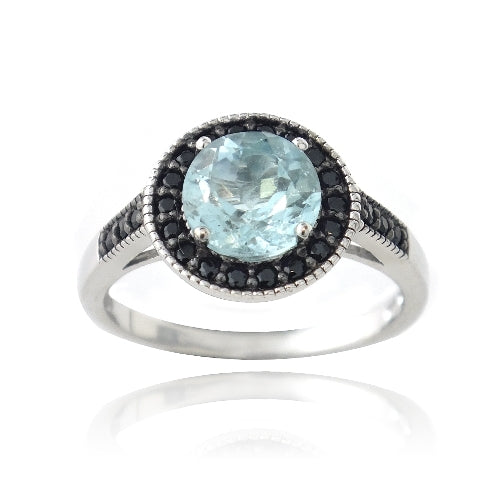 Sterling Silver 1.ct Blue Topaz & Black Spinel Round Ring