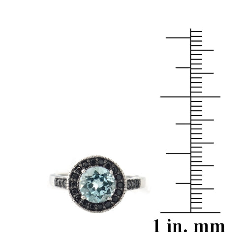 Sterling Silver 1.6ct Blue Topaz & Black Spinel Round Ring
