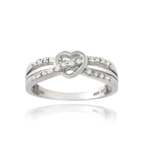 Sterling Silver 1/5ct Diamond Twist & Heart Promise Ring