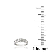 Sterling Silver 1/ ct Diamond Twist & Heart Promise Ring