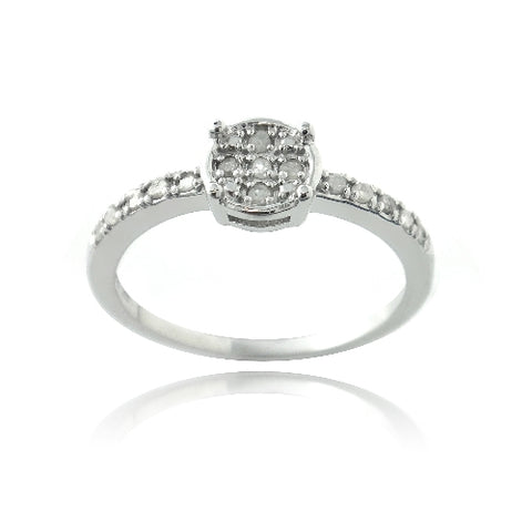 Sterling Silver 1/5ct Diamond Round Promise Ring
