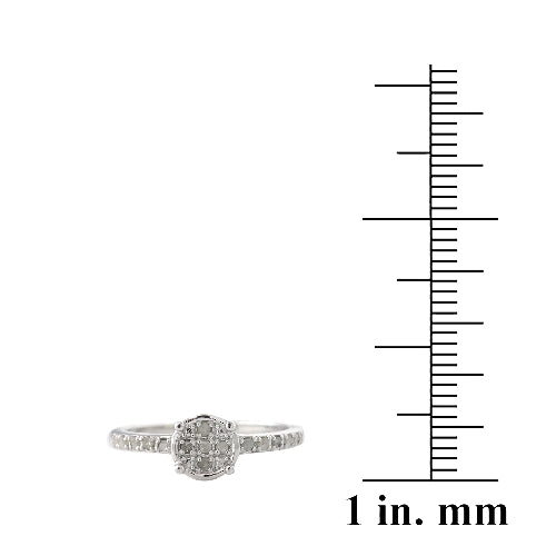 Sterling Silver 1/ ct Diamond Round Promise Ring