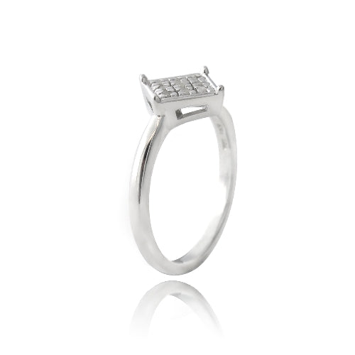 Sterling Silver 1/ ct Diamond Diamond-Shape Promise Ring