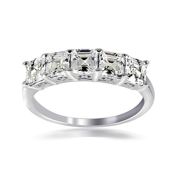 Sterling Silver Asscher Cut CZ Semi Eternity Band Ring