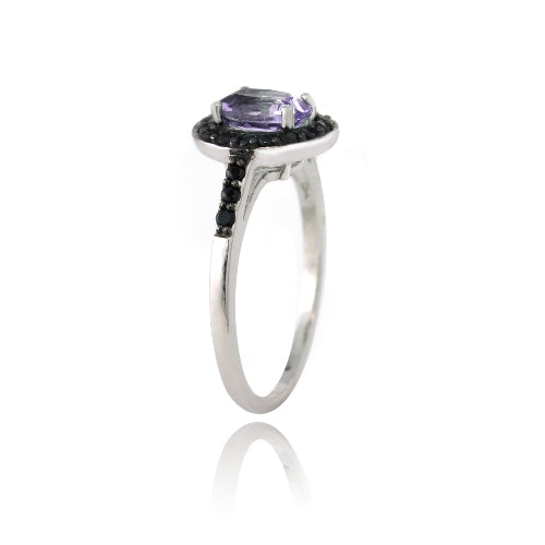 Sterling Silver 1.3ct Amethyst & Black Spinel Oval Ring