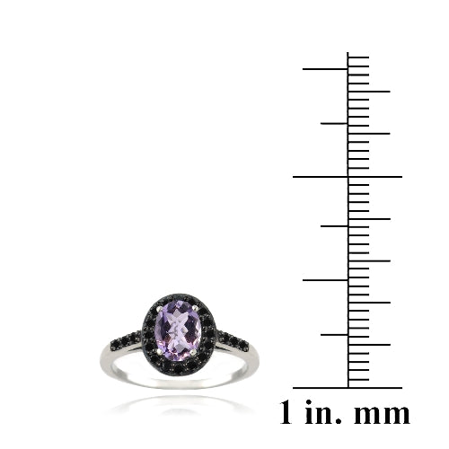 Sterling Silver 1.35ct Amethyst & Black Spinel Oval Ring