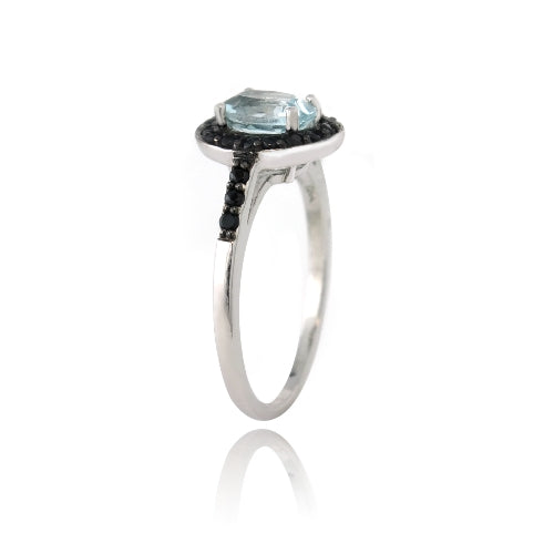 Sterling Silver 1.65ct Blue Topaz & Black Spinel Oval Ring