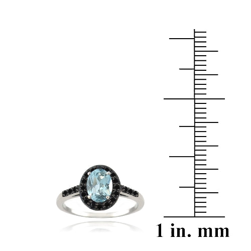 Sterling Silver 1.ct Blue Topaz & Black Spinel Oval Ring